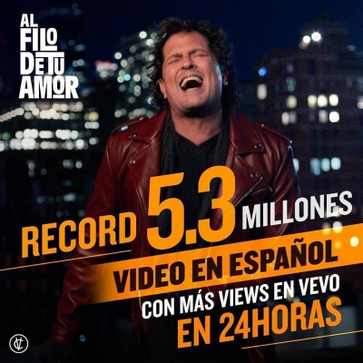 "Carlos Vives récord global con su nuevo video ""Al Filo de Tu Amor""."